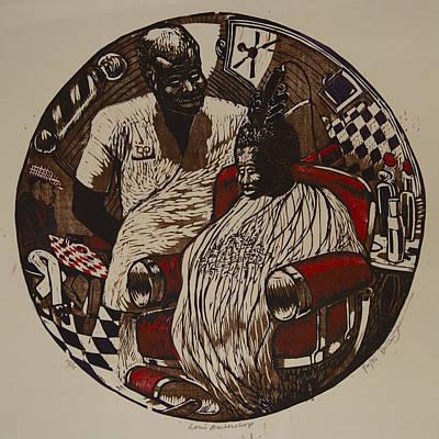 Checkered Pattern Drawing - Lou's Barbershop by Brian Jones