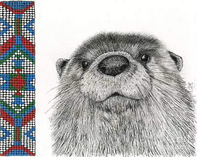 Otter Drawing - Loutre De Riviere by Christine Matha