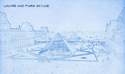 Louvre Digital Art - Louvre And Paris Skyline  - Blueprint Drawing by MotionAge Designs