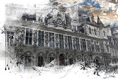 Louvre In A Splash Art Print by Evie Carrier