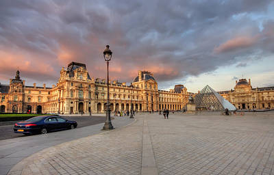 Louvre Museum At Sunset Art Print by Ioan Panaite