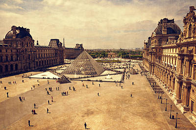 European City Digital Art - Louvre Museum by Maria Angelica Maira