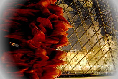 Photograph - Louvre Pyramid And Red Sculpture by Jacqueline M Lewis