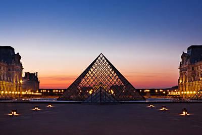 Photograph - Louvre Pyramid At Dusk / Paris by Barry O Carroll
