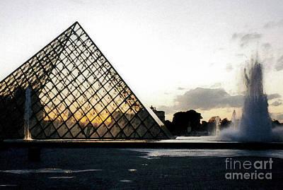 Photograph - Louvre Pyramid At Night by Patricia Januszkiewicz