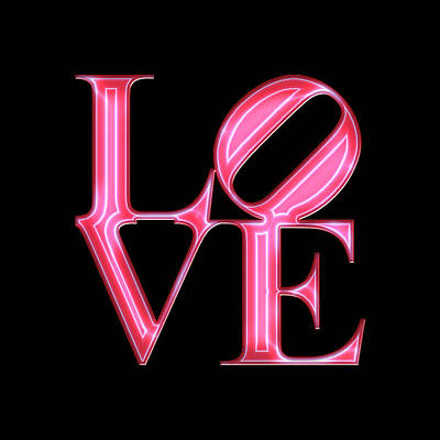 Phillies Digital Art - Love - Vibrant Red N Pink by Becca Buecher