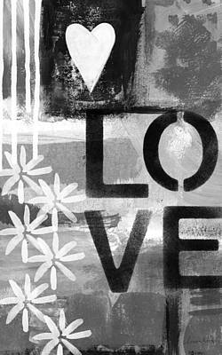 Black And White Art Painting - Love- Abstract Painting by Linda Woods