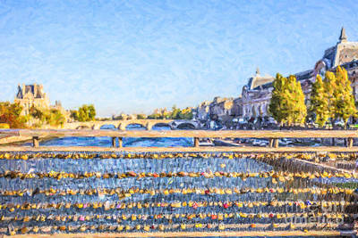 Paris Digital Art - Love Across The Seine by Liz Leyden