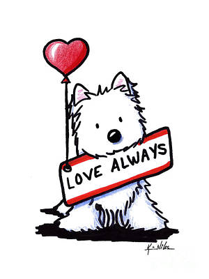 Cute Dogs Drawing - Love Always Westie by Kim Niles
