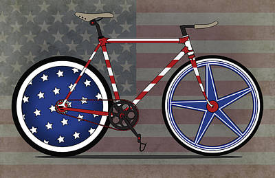 Love America Bike Art Print by Andy Scullion