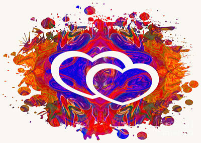 Painting - Love And Connections Abstract Heart Art by Omaste Witkowski