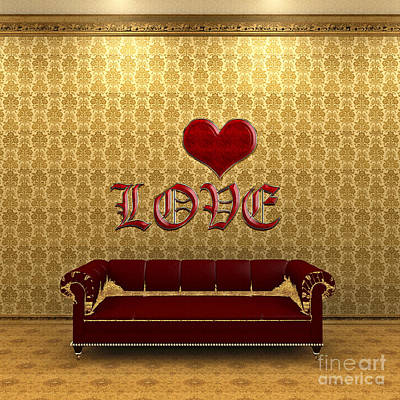 Digital Art - Love And Deep Red Sofa In A Gold Victorian Room by Beverly Claire Kaiya