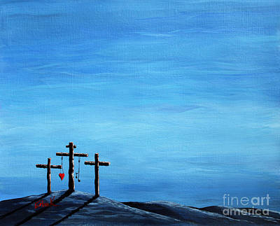 The Wooden Cross Painting - Love And Grace By Shawna Erback by Shawna Erback