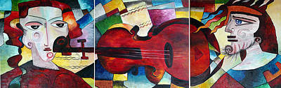 Art Print featuring the painting Love And Music Triptych by Dorothy Maier