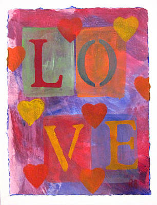 Painting - Love And Hearts by Robie Benve
