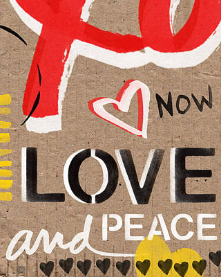 Mixed Media - Love and Peace Now by Linda Woods
