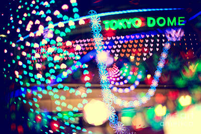 Love And Tokyo Dome With Colorful Psychedelic Heart Lights Art Print by Beverly Claire Kaiya