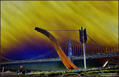 Photograph - Love At Cupid's Span San Francisco Bay Bridge by LeeAnn McLaneGoetz McLaneGoetzStudioLLCcom