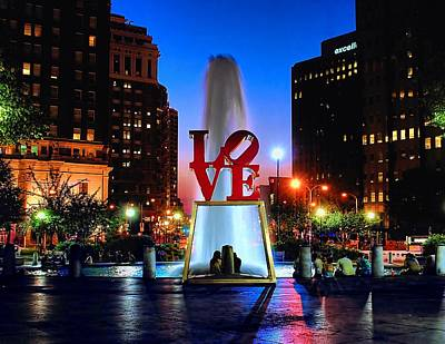 Fountain Photograph - Love At Night by Nick Zelinsky