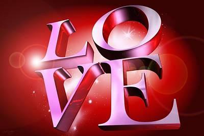 Digital Art - Love Banner by Derek Gedney