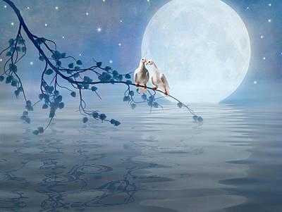 Lovebird Digital Art - Love Birds By The Light Of The Moon by Nina Bradica