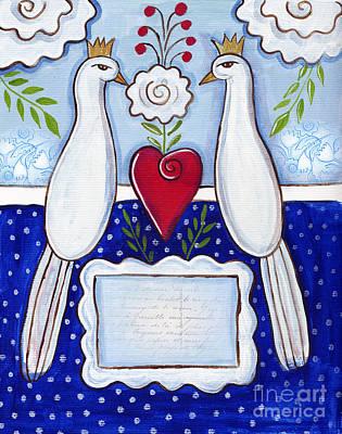 Folk Art Mixed Media - Love Birds by Elaine Jackson