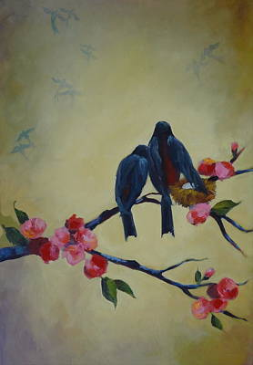 Painting - Love Birds Empty Nest by Kelley Smith