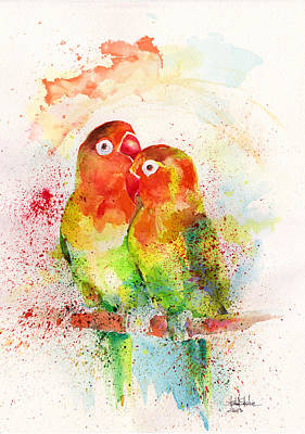 Tribute Drawing - Love Birds by Isabel Salvador