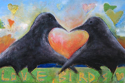Lovebird Painting - Love Birds by Mary Medrano
