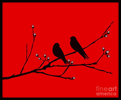 Digital Art - Love Birds On Pussywillow by Mindy Bench