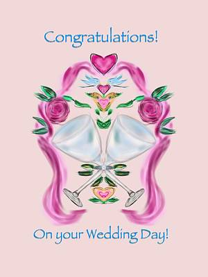 Art Print featuring the digital art Love Birds Pink Wedding by Christine Fournier