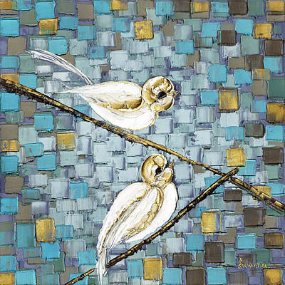 Brown Painting - Love Birds by Susanna Shap