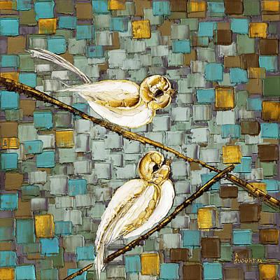 Palette Knife Painting - Love Birds- Warm Tone by Susanna Shap