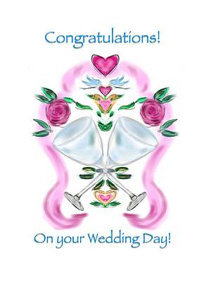 Art Print featuring the digital art Love Birds White Wedding by Christine Fournier