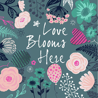 Wall Art - Painting - Love Blooms Here by P.s. Art Studios