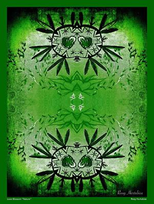 Digital Art - Love Blossom Nature Green Border by Roxy Hurtubise
