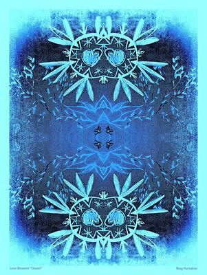 Digital Art - Love Blossom Ocean Turquoise Border by Roxy Hurtubise