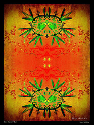 Digital Art - Love Blossom Sun Black Border by Roxy Hurtubise