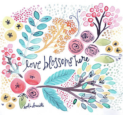 Love Blossoms Here Art Print