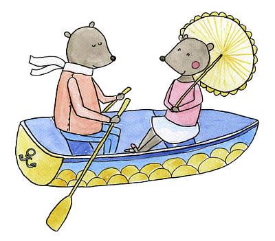 Digital Art - Love Boat Watercolor Illustration by Kili-kili
