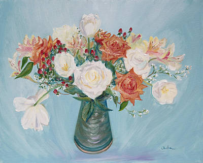 Painting - Love Bouquet In White And Orange by Asha Carolyn Young