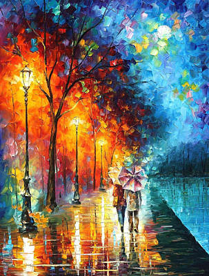 Love By The Lake - Palette Knife Oil Painting On Canvas By Leonid Afremov Original by Leonid Afremov