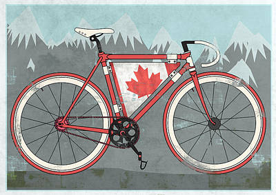 Mountain Digital Art - Love Canada Bike by Andy Scullion