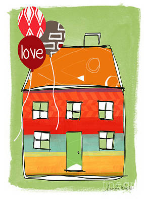 Stripes Mixed Media - Love Card by Linda Woods