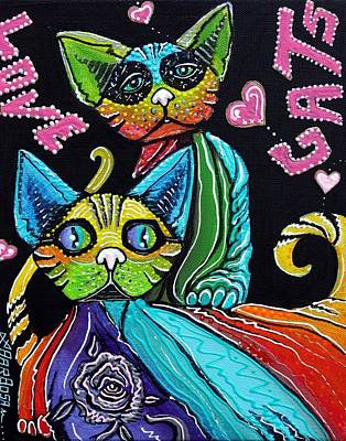 Cat Painting - Love Cats by Laura Barbosa