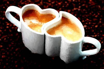 Breakfast Painting - Love Coffee by VRL Art