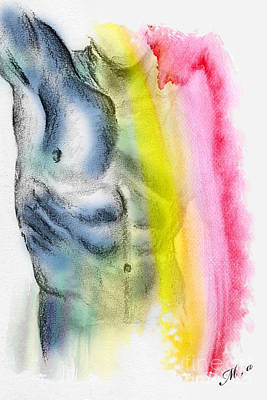 Nude Drawing - Love Colors - 4 by Mark Ashkenazi