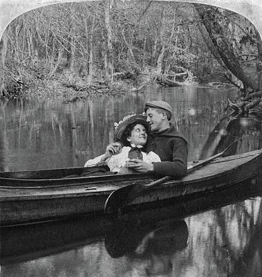 Embrace Painting - Love Couple Rowing, 1897 by Granger