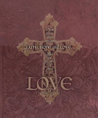 Religious Cross Painting - Love Cross by Tammy Apple