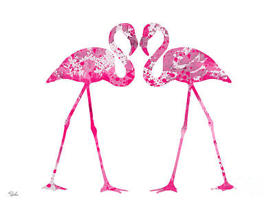 Flamingo Painting - Love Flamingos by Watercolor Girl
